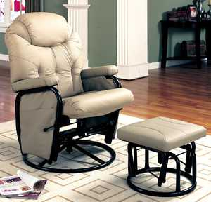 Coaster 7292 Ivory Deluxe Swivel Glider With Matching Ottoman