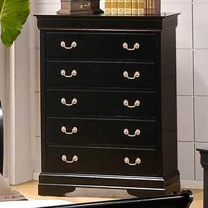 Coaster 201075 Louis Philippe Black 5 Drawer Chest