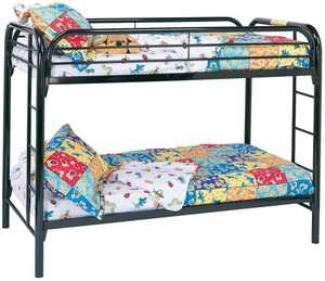 Coaster 2256K Fordham Twin Over Twin Black Bunk Bed With Built-In Ladders