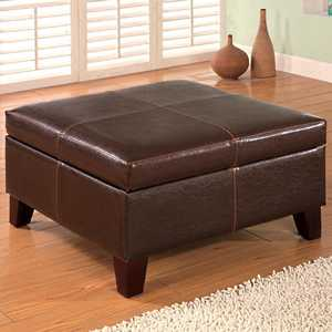 Coaster 501042 Square Faux Leather Storage Ottoman