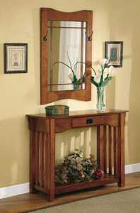 Coaster 950060 2-Piece Oak Finish Console Table And Mirror Set