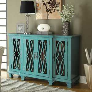 Coaster 950245 Large Teal Accent Cabinet With Glass Doors