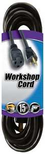 Coleman Cable 02306-88-08 15-Foot 13-Amp Black Outdoor Extension Cord