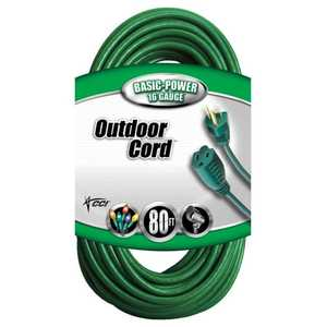 Coleman Cable 02353-88-05 80-Foot 10-Amp Green Landscape Outdoor Extension Cord