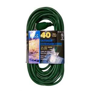 Coleman Cable 02356-88-05 Extension Cord 16/3 Sjtw 40 ft Green