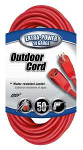 Coleman Cable 02408-88-04 50-Foot 15-Amp Red Outdoor Extension Cord