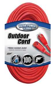 Coleman Cable 02409-88-04 100-Foot 15-Amp Red Outdoor Extension Cord