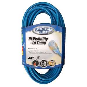 Coleman Cable 02468-88-06 50-Foot 15-Amp High Visibility Blue Low Temperature Extension Cord