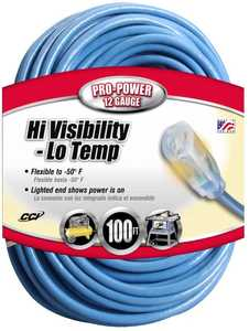 Coleman Cable 02569-00-06 100-Foot 15-Amp High Visibility Blue Low Temperature Extension Cord