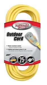 Coleman Cable 02587-88-02 25-Foot 15-Amp Yellow Lighted-End Extension Cord
