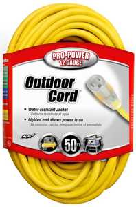 Coleman Cable 02588-00-02 50-Foot 15-Amp Yellow Lighted-End Extension Cord
