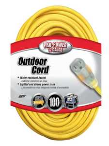Coleman Cable 02589-00-02 100-Foot 15-Amp Yellow Lighted-End Extension Cord