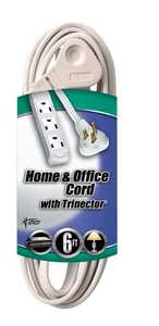 Coleman Cable 03517-88-01 6-Foot 13-Amp White SlenderPlug Grounded Trinector Plug