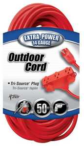 Coleman Cable 04218-88-04 Extension Cord 14/3 Sjtw 50 ft Tri Src