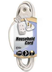 Coleman Cable 09417-89-01 7-Foot 13-Amp White SlenderPlug Cube Tap Extension Cord