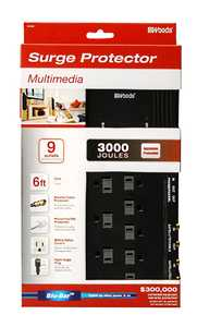 Coleman Cable 416527811 9 Outlet Surge Protector With Phone+coax