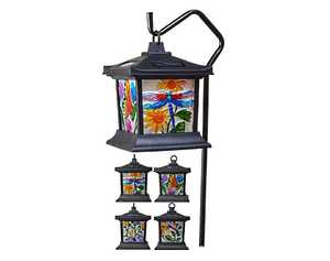 Moonrays 92276 24-1/2-Inch Floral Stained Glass Solar LED Garden Light