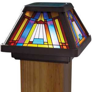 Moonrays 91241 4-Inch X 4-Inch Inglenook Stained Glass Post Cap LED Light