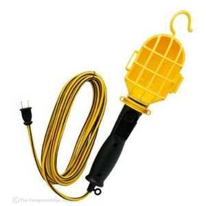 Woods E-237 75-Watt Yellow Trouble Light With Plastic Guard