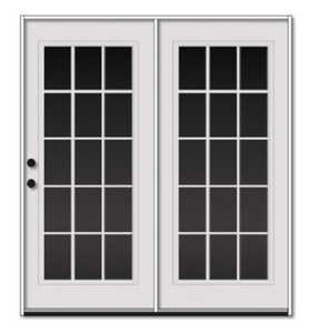 Sutherlands 6/0X6/8 LH Left Hand White Double Swinging Steel Patio Door