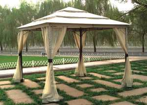 DC America LQGO19323MBR-BB 10 ft x10 ft Three Tier Gazebo W/Insect Screen