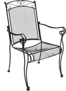DC America WIC188 Charleston Wrought Iron High-Back Chair- Black