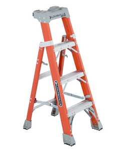 Louisville Ladder FXS1504 4 ft Type IA Cross Step Louisville Step to Shelf Ladder, 300 Lb Rated
