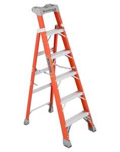 Louisville Ladder FXS1506 6 ft Type IA Cross Step Louisville Step to Shelf Ladder, 300 Lb Rated