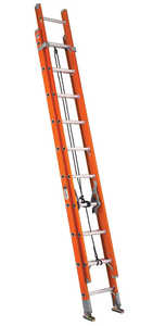 Louisville Ladder FE3220 20 ft Type IA Fiberglass Extension Ladder, 300 Lb Rated
