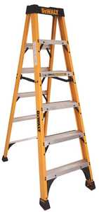DeWalt DXL3010-06 6 Ft Type Ia Fiberglass Step Ladder, 300 Lb Rated