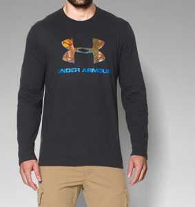 Under Armour 1258082-002-XL X-Large Black Camo Fill Logo Graphic Hunting Long-Sleeve T-Shirt