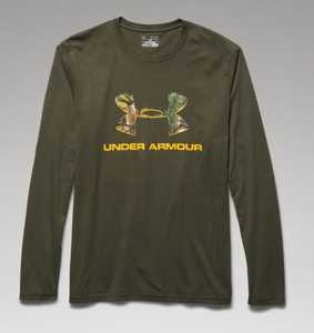 Under Armour 1258082-374-LG Large Greenhead Camo Fill Logo Graphic Hunting Long-Sleeve T-Shirt