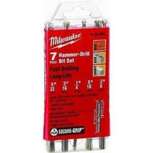 Milwaukee 48-20-8852 3-Flat Secure-Grip Hammer Drill Bit Set (7 Pack)