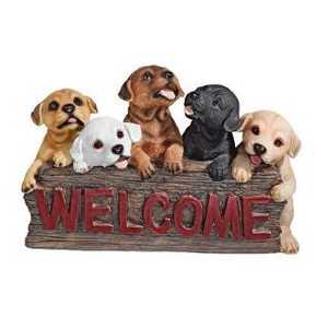 Design Toscano QL576665 The Puppy Parade Welcome Sign