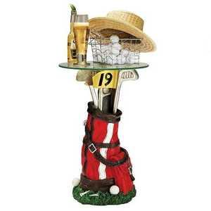 Design Toscano EU31698 On Par Golf Bag Sculptural Glass Topped Table