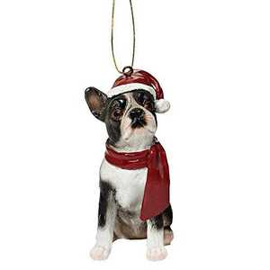 Design Toscano JH576302 Boston Terrier Holiday Dog Ornament Sculpture