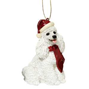 Design Toscano JH576314 White Poodle Holiday Dog Ornament Sculpture