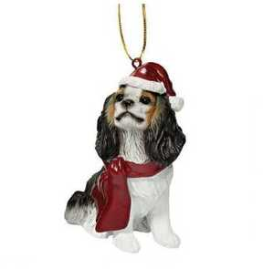 Design Toscano JH576321 Cavalier King Charles Spaniel Holiday Dog Ornament Sculpture