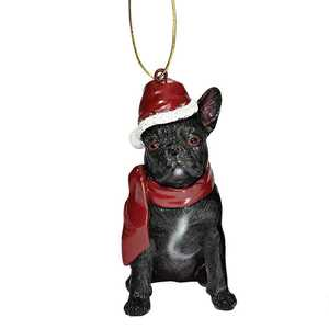 Design Toscano JH576324 French Bulldog Holiday Dog Ornament Sculpture