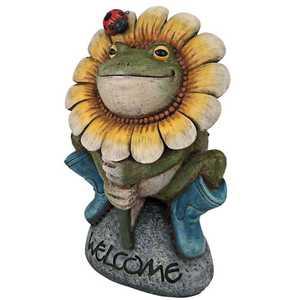 Design Toscano HF300725 Flowery Frog Garden Welcome Statue