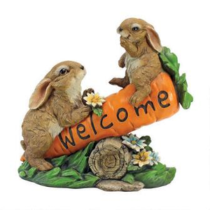 Design Toscano HF317387 Bunny Bunch Welcome Sign Statue