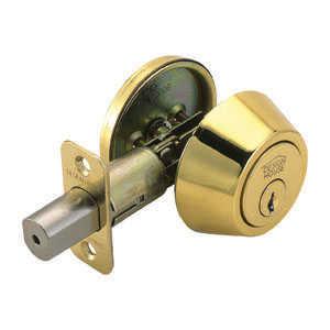 Design House 782763 Deadbolt Single Cylinder Polished Brass Boxed