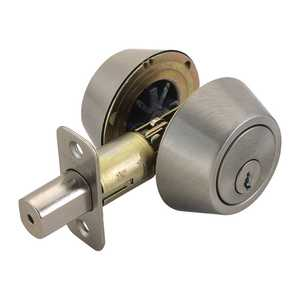 Design House 784850 Double Cylinder Deadbolt Satin Nickel