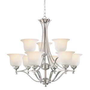 Design House 515551 Chandelier 9-Light Ironwood Satin Nickel