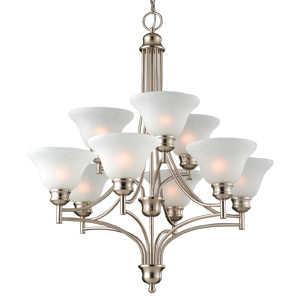 Design House 517136 9-Light Satin Nickel Bristol Chandelier