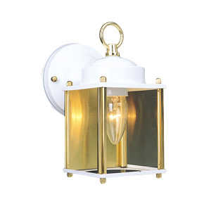 Design House 502666 Downlight Outdoor 1-Light Coach White/Polished Brass