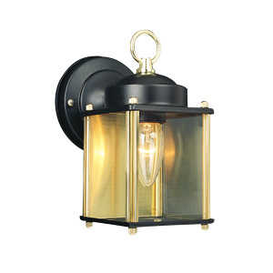 Design House 502658 Downlight Outdoor 1-Light Coach Black/Polished Brass