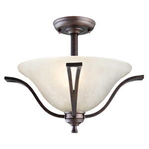 Design House 517631 Semi Flush Ceiling 2-Light Ironwood Brushed Bronze