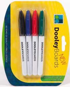 Dooleys 314P Medium Tip Dry Erase Markers, 4 Pack