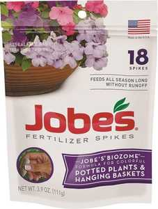 Easy Gardener 06105 Jobe's Hanging Basket & Potted Plant Fertilizer Spikes 18pk